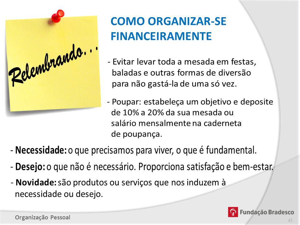 Organização Pessoal COMO ORGANIZAR-SE FINANCEIRAMENTE 45