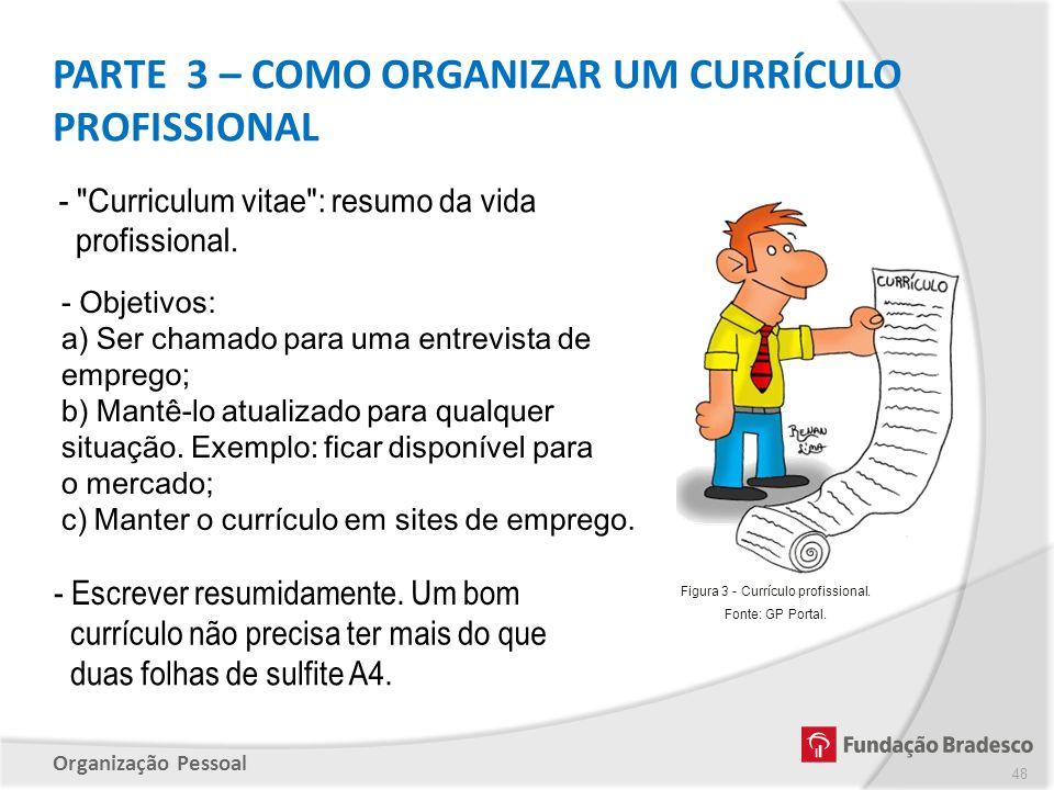 Organização Pessoal PARTE 3 – COMO ORGANIZAR UM CURRÍCULO PROFISSIONAL 48 Figura 3 - Currículo profissional. Fonte: GP Portal.