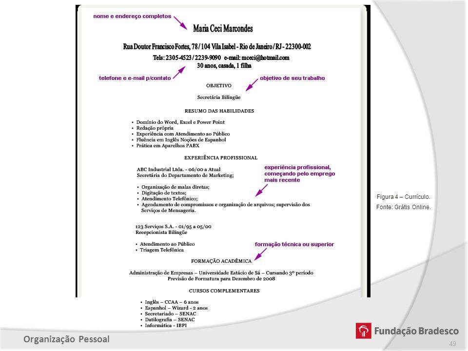 Organização Pessoal 49 Figura 4 – Currículo. Fonte: Grátis Online.