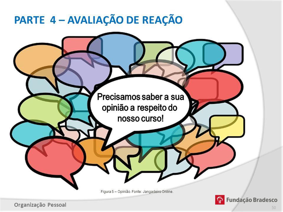 Organização Pessoal PARTE 4 – AVALIAÇÃO DE REAÇÃO 50 Figura 5 – Opinião. Fonte: Jangadeiro Online.
