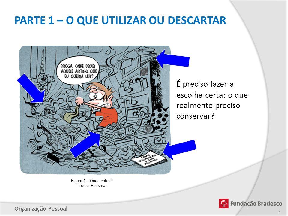 Organização Pessoal É preciso fazer a escolha certa: o que realmente preciso conservar? Figura 1 – Onde estou? Fonte: Phrisma. PARTE 1 – O QUE UTILIZA