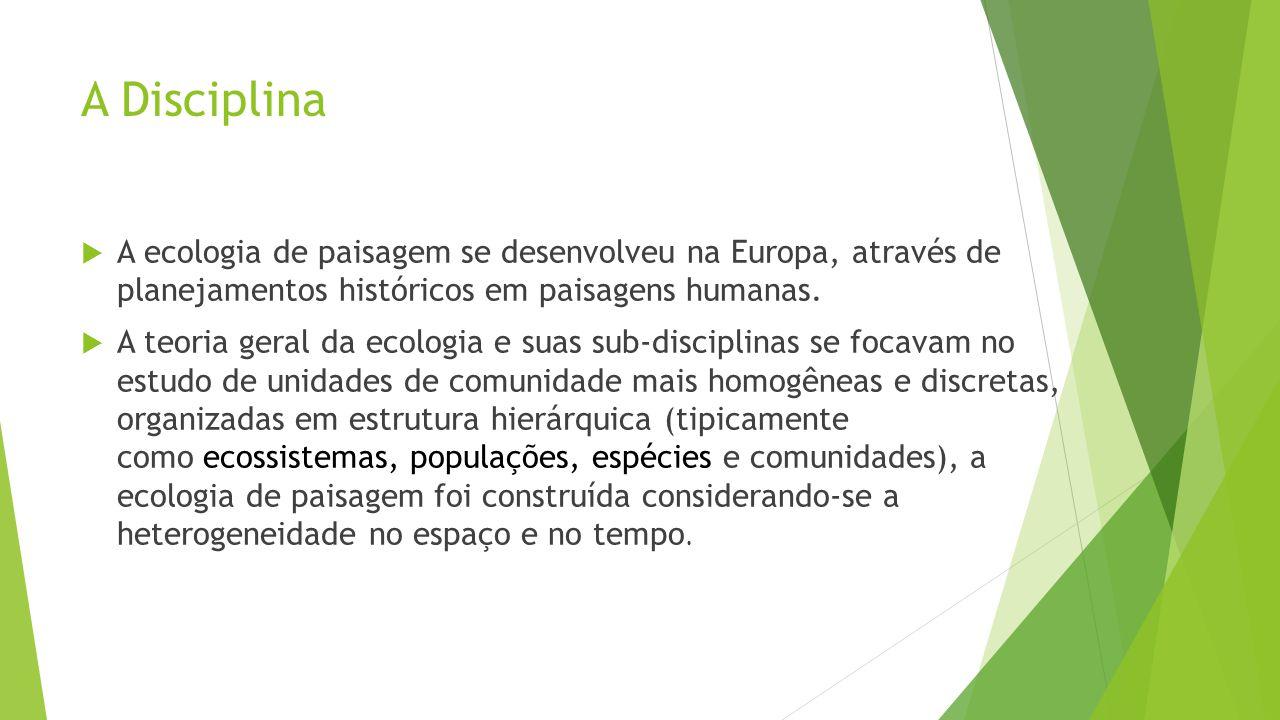 A Disciplina  A ecologia de paisagem se desenvolveu na Europa, através de planejamentos históricos em paisagens humanas.