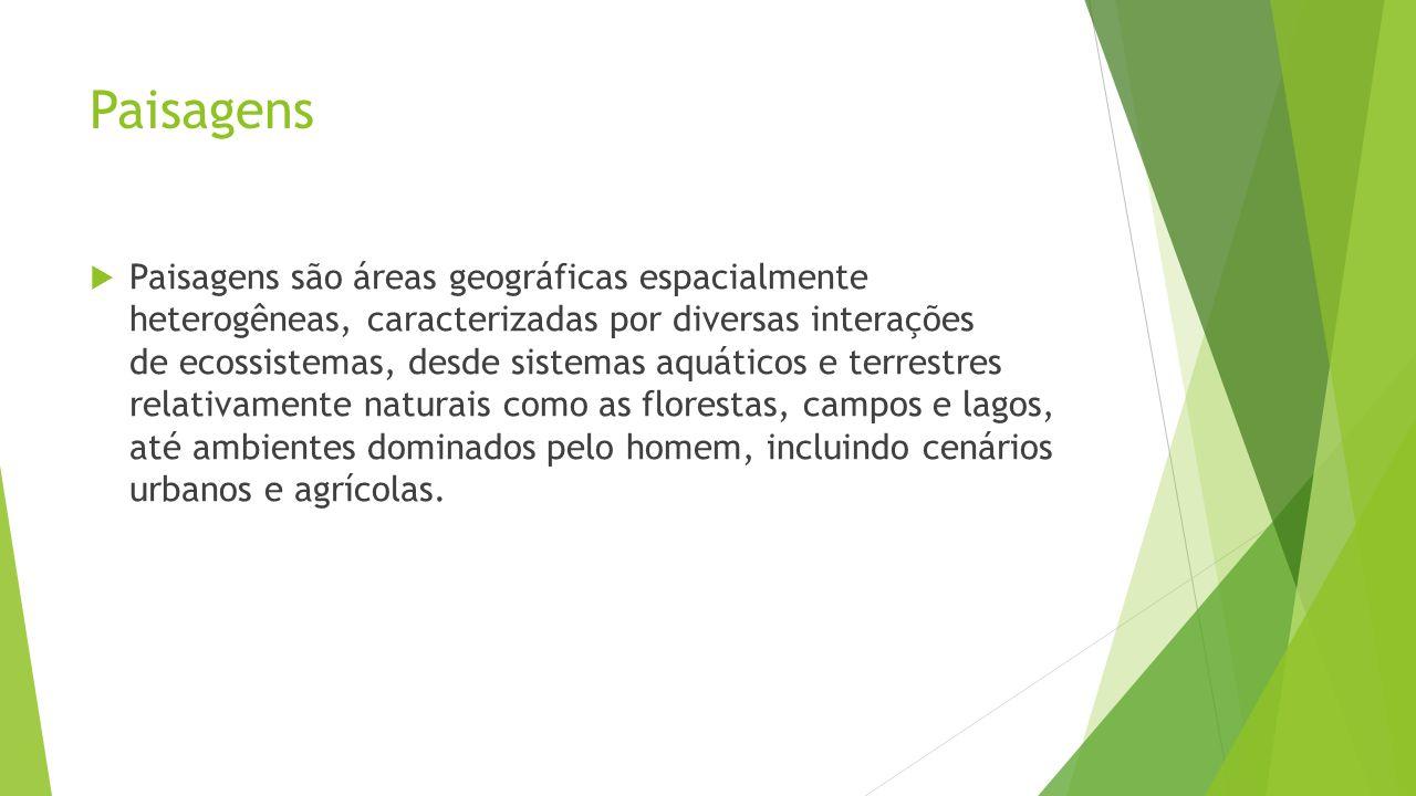 Paisagens  Paisagens são áreas geográficas espacialmente heterogêneas, caracterizadas por diversas interações de ecossistemas, desde sistemas aquáticos e terrestres relativamente naturais como as florestas, campos e lagos, até ambientes dominados pelo homem, incluindo cenários urbanos e agrícolas.