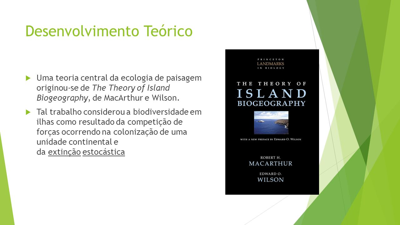 Desenvolvimento Teórico  Uma teoria central da ecologia de paisagem originou-se de The Theory of Island Biogeography, de MacArthur e Wilson.