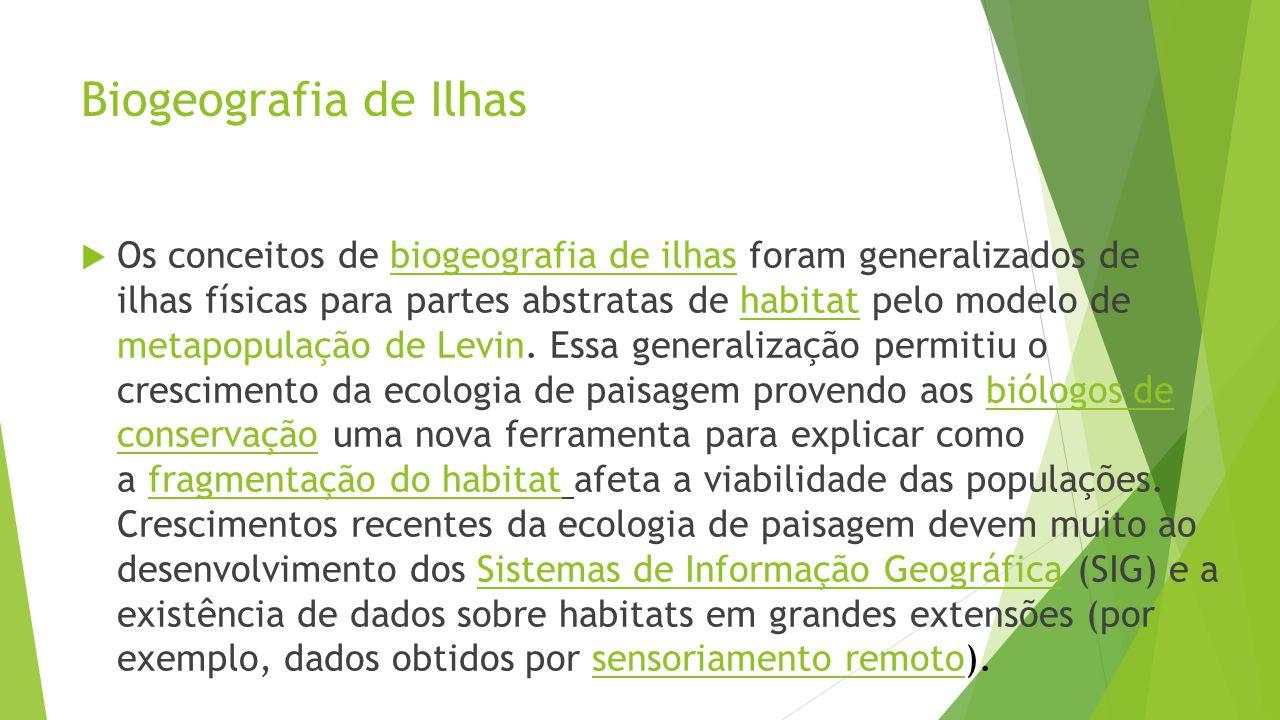 Biogeografia de Ilhas  Os conceitos de biogeografia de ilhas foram generalizados de ilhas físicas para partes abstratas de habitat pelo modelo de metapopulação de Levin.