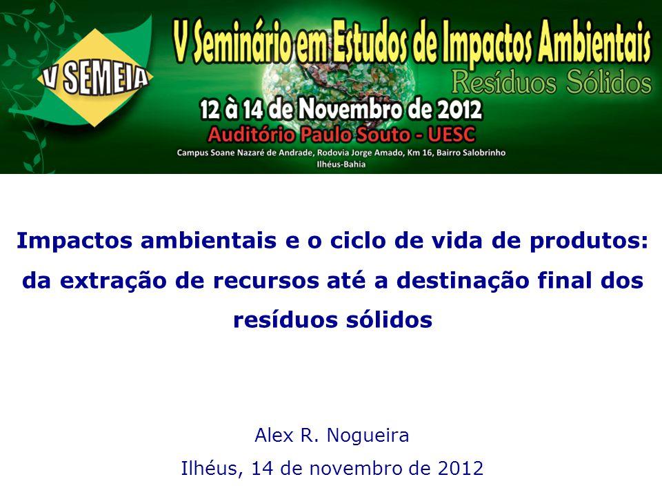 Impactos ambientais e o ciclo de vida de produtos: da extração de recursos até a destinação final dos resíduos sólidos Alex R. Nogueira Ilhéus, 14 de