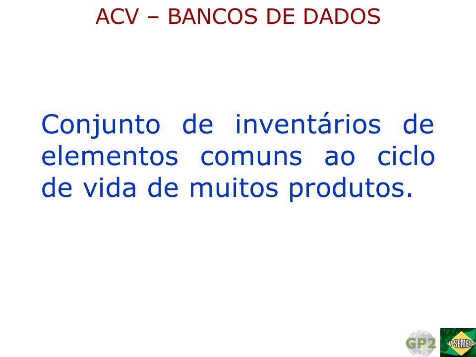 Conjunto de inventários de elementos comuns ao ciclo de vida de muitos produtos. ACV – BANCOS DE DADOS