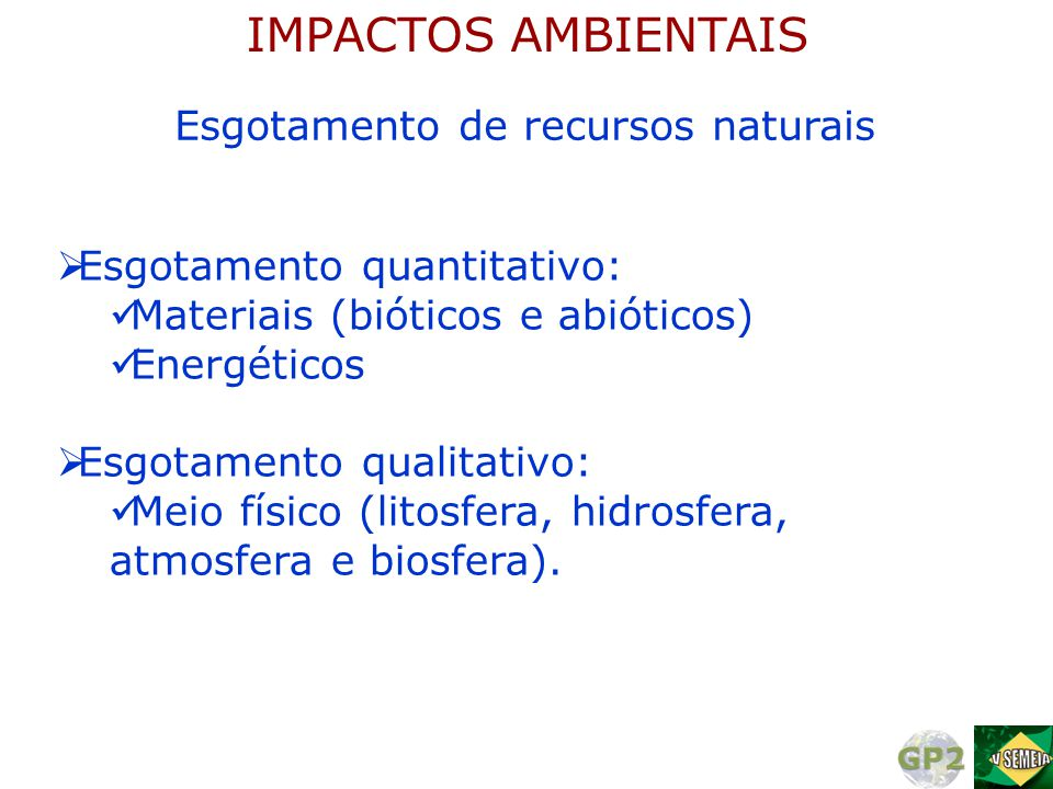  Esgotamento quantitativo:  Materiais (bióticos e abióticos)  Energéticos  Esgotamento qualitativo:  Meio físico (litosfera, hidrosfera, atmosfer