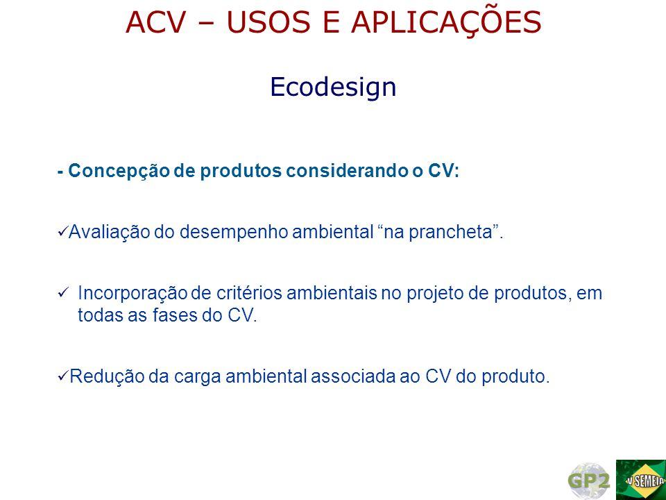 - Concepção de produtos considerando o CV:  Incorporação de critérios ambientais no projeto de produtos, em todas as fases do CV.  Redução da carga