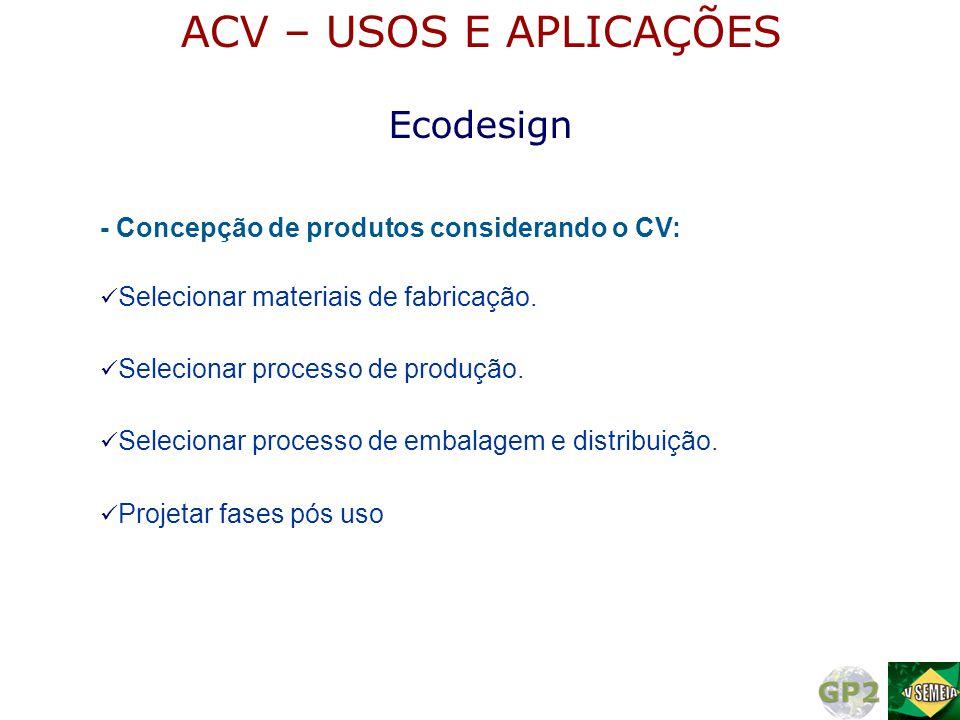 - Concepção de produtos considerando o CV:  Selecionar materiais de fabricação.  Projetar fases pós uso  Selecionar processo de produção.  Selecio