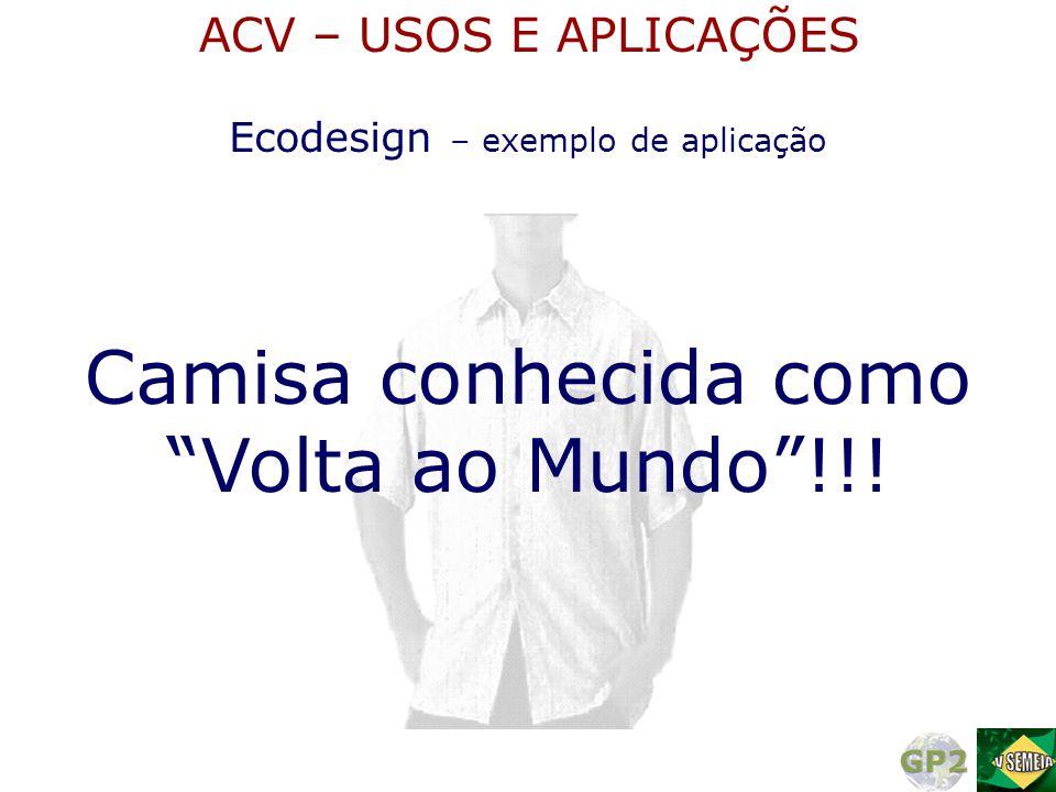 """Camisa conhecida como """"Volta ao Mundo""""!!! Ecodesign – exemplo de aplicação ACV – USOS E APLICAÇÕES"""