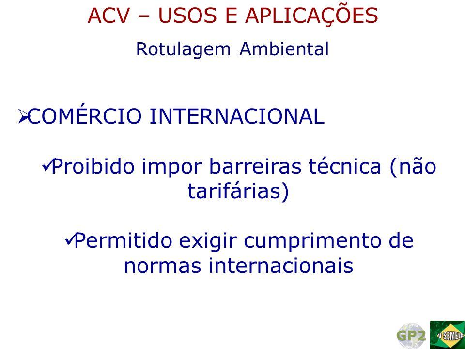  COMÉRCIO INTERNACIONAL  Proibido impor barreiras técnica (não tarifárias)  Permitido exigir cumprimento de normas internacionais Rotulagem Ambient