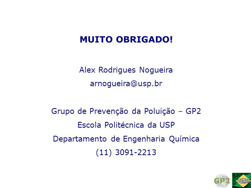 MUITO OBRIGADO! Alex Rodrigues Nogueira arnogueira@usp.br Grupo de Prevenção da Poluição – GP2 Escola Politécnica da USP Departamento de Engenharia Qu