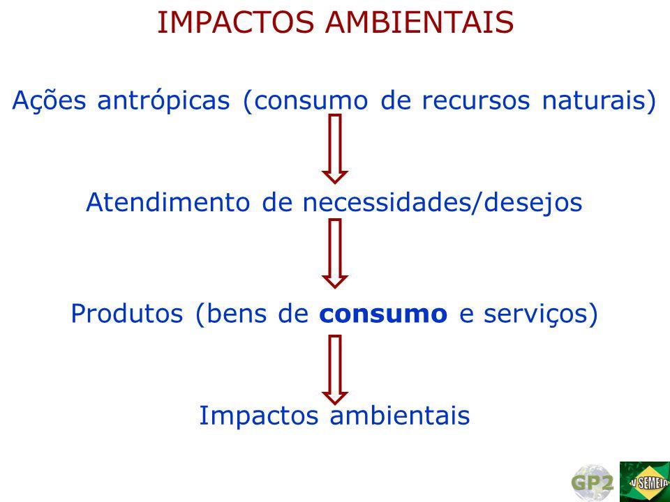 Ações antrópicas (consumo de recursos naturais) IMPACTOS AMBIENTAIS Atendimento de necessidades/desejos Impactos ambientais Produtos (bens de consumo
