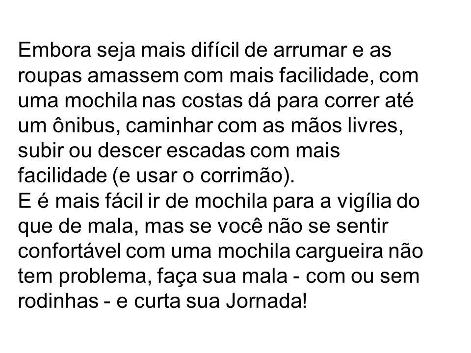 •Embarque; •Recep ç ão no Rio de Janeiro (Aeroporto e nos Bolsões onde os ônibus ficarão estacionados); •Deslocamento para os alojamentos; •Coordena ç ão; •Programa ç ão do EJV; •Programa ç ão da JMJ; •Acompanhamento para os eventos Centrais da JMJ e Catequeses •Alimenta ç ão durante a JMJ •Traslado no Rio durante a JMJ; •Eventos que estarão acontecendo no Rio durante a JMJ.