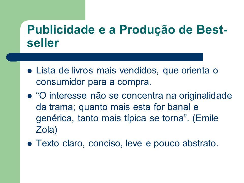 """Publicidade e a Produção de Best- seller  Lista de livros mais vendidos, que orienta o consumidor para a compra.  """"O interesse não se concentra na o"""