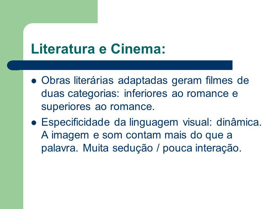 Literatura e Cinema:  Obras literárias adaptadas geram filmes de duas categorias: inferiores ao romance e superiores ao romance.  Especificidade da