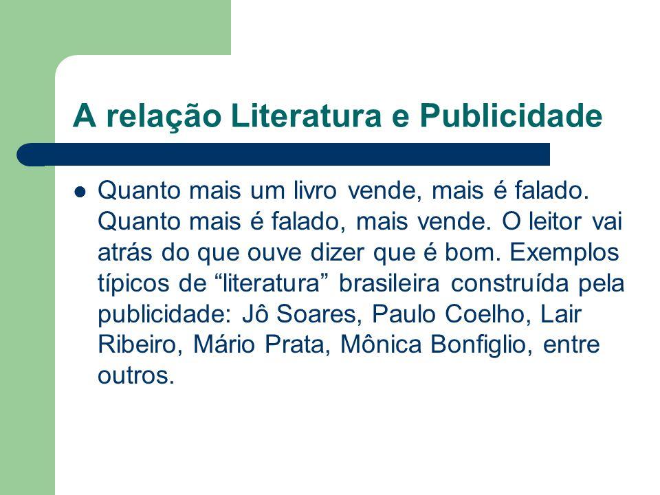 A relação Literatura e Publicidade  Quanto mais um livro vende, mais é falado. Quanto mais é falado, mais vende. O leitor vai atrás do que ouve dizer