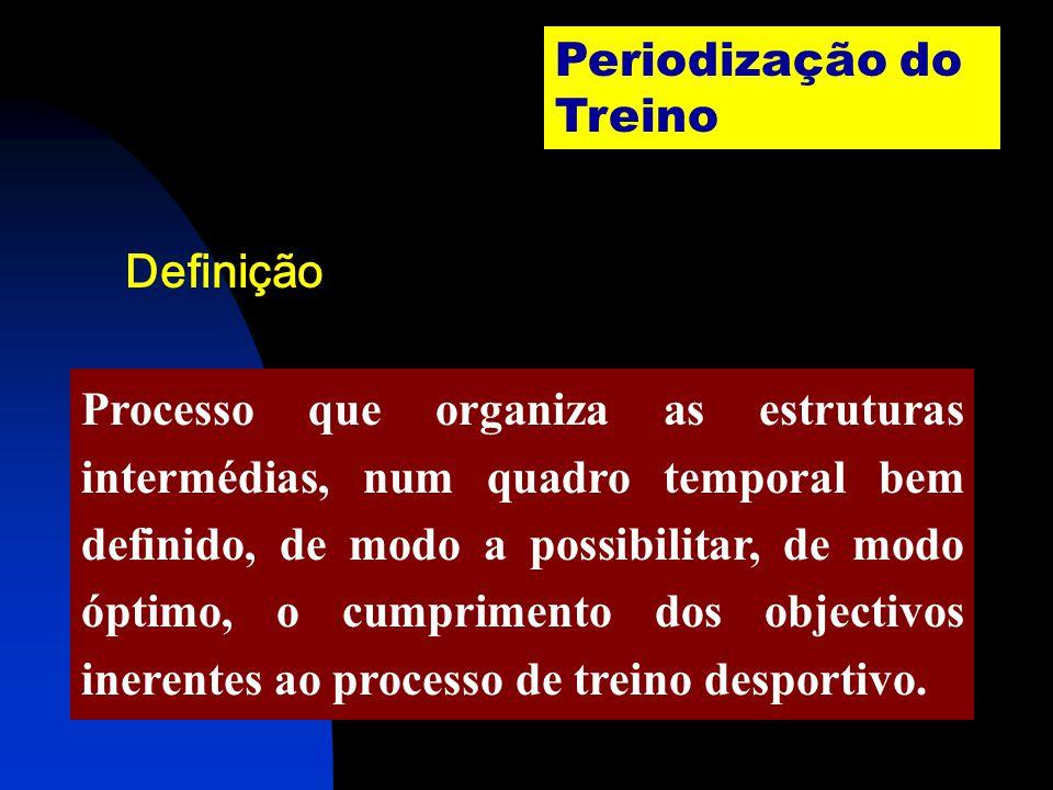 Periodização do Treino Processo que organiza as estruturas intermédias, num quadro temporal bem definido, de modo a possibilitar, de modo óptimo, o cumprimento dos objectivos inerentes ao processo de treino desportivo.