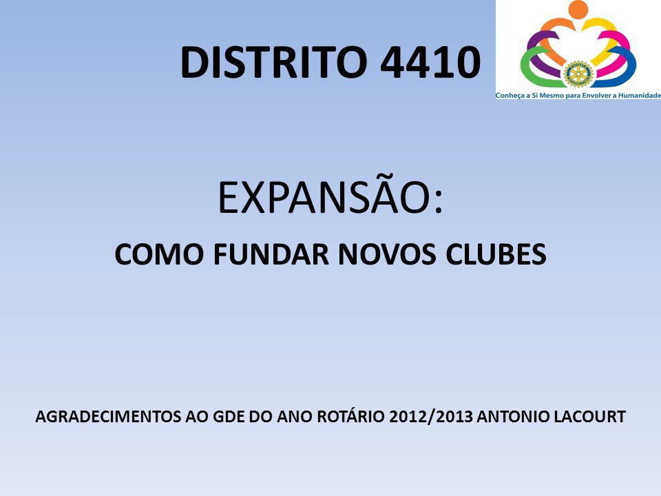 DISTRITO 4410 EXPANSÃO: COMO FUNDAR NOVOS CLUBES AGRADECIMENTOS AO GDE DO ANO ROTÁRIO 2012/2013 ANTONIO LACOURT