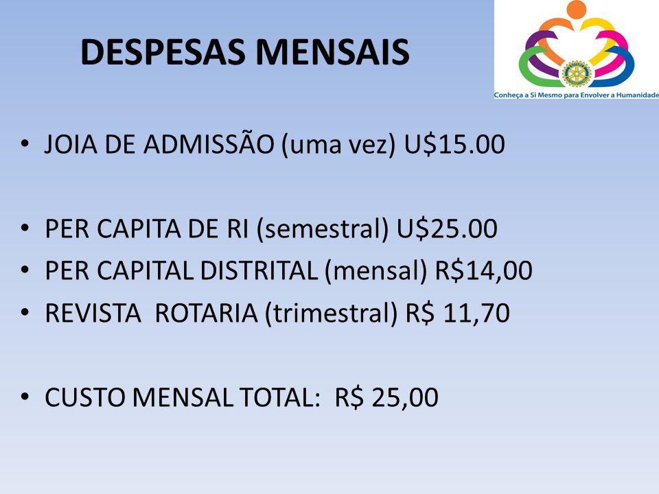 DESPESAS MENSAIS • JOIA DE ADMISSÃO (uma vez) U$15.00 • PER CAPITA DE RI (semestral) U$25.00 • PER CAPITAL DISTRITAL (mensal) R$14,00 • REVISTA ROTARI