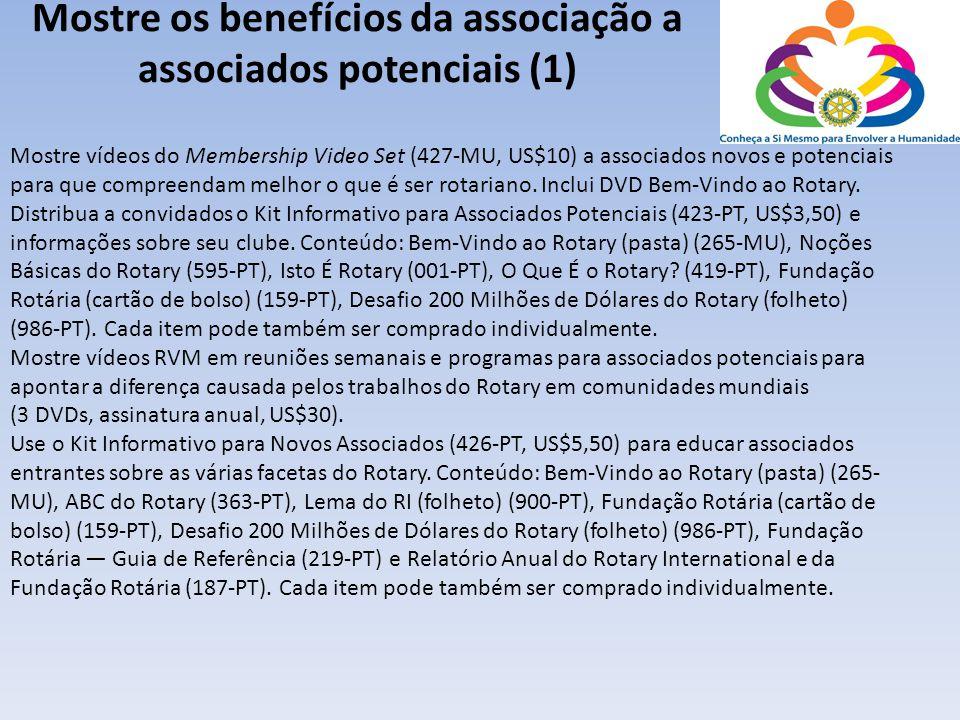 Mostre os benefícios da associação a associados potenciais (1) Mostre vídeos do Membership Video Set (427-MU, US$10) a associados novos e potenciais p
