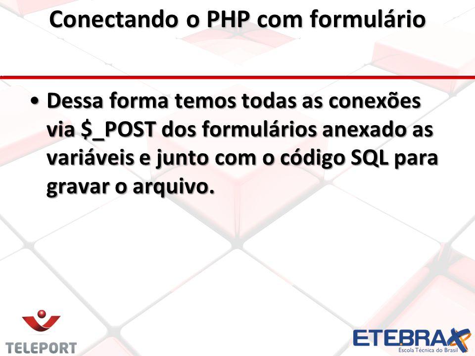 •Dessa forma temos todas as conexões via $_POST dos formulários anexado as variáveis e junto com o código SQL para gravar o arquivo.
