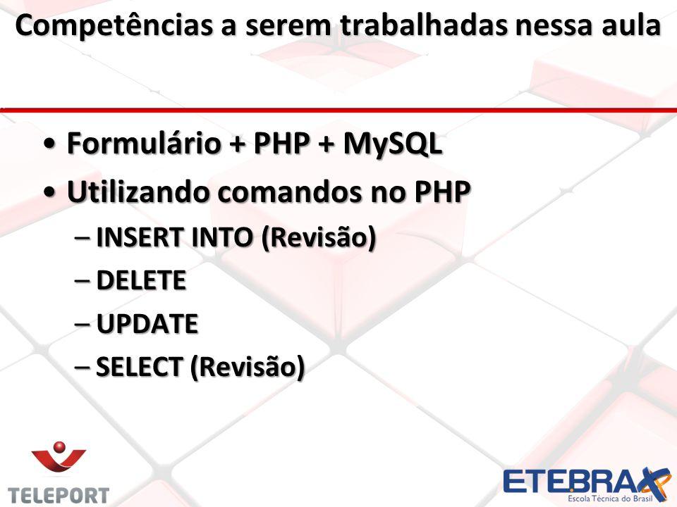 Competências a serem trabalhadas nessa aula •Formulário + PHP + MySQL •Utilizando comandos no PHP –INSERT INTO (Revisão) –DELETE –UPDATE –SELECT (Revisão)