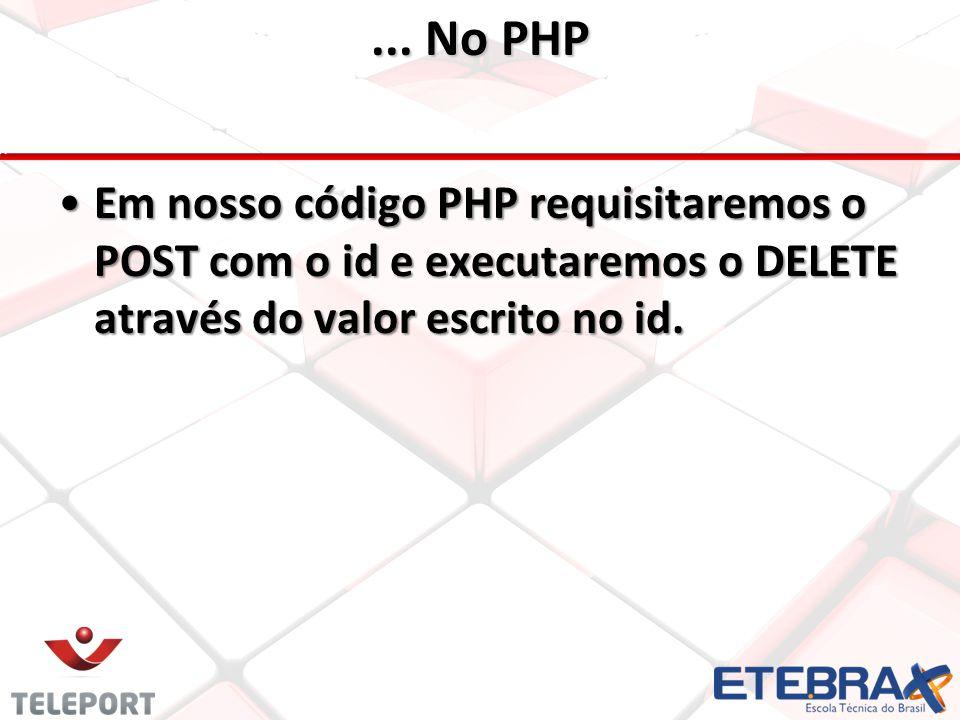 ... No PHP •Em nosso código PHP requisitaremos o POST com o id e executaremos o DELETE através do valor escrito no id.