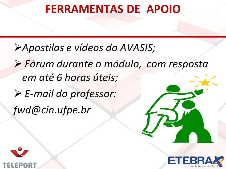 FERRAMENTAS DE APOIO  Apostilas e vídeos do AVASIS;  Fórum durante o módulo, com resposta em até 6 horas úteis;  E-mail do professor: fwd@cin.ufpe.