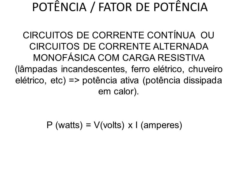 POTÊNCIA / FATOR DE POTÊNCIA CIRCUITOS DE CORRENTE CONTÍNUA OU CIRCUITOS DE CORRENTE ALTERNADA MONOFÁSICA COM CARGA RESISTIVA (lâmpadas incandescentes