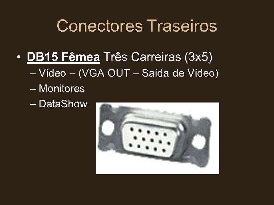 Conectores Traseiros •DB15 Fêmea Três Carreiras (3x5) –Vídeo – (VGA OUT – Saída de Vídeo) –Monitores –DataShow