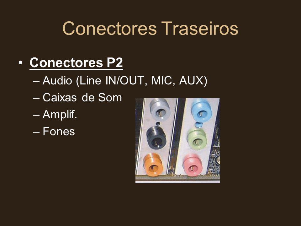 Conectores Traseiros •Conectores P2 –Audio (Line IN/OUT, MIC, AUX) –Caixas de Som –Amplif. –Fones