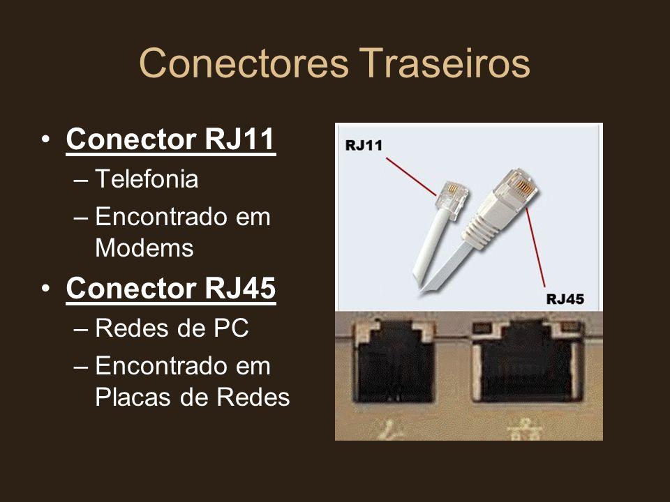 Conectores Traseiros •Conector RJ11 –Telefonia –Encontrado em Modems •Conector RJ45 –Redes de PC –Encontrado em Placas de Redes