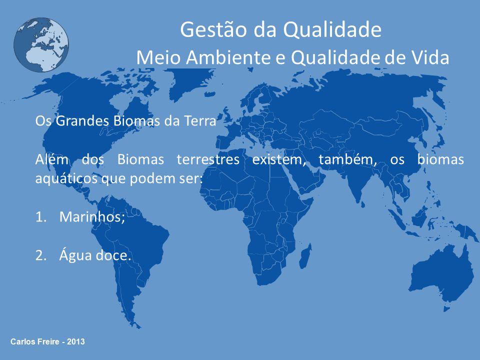 Carlos Freire - 2013 Gestão da Qualidade Meio Ambiente e Qualidade de Vida Os Grandes Biomas da Terra Além dos Biomas terrestres existem, também, os b