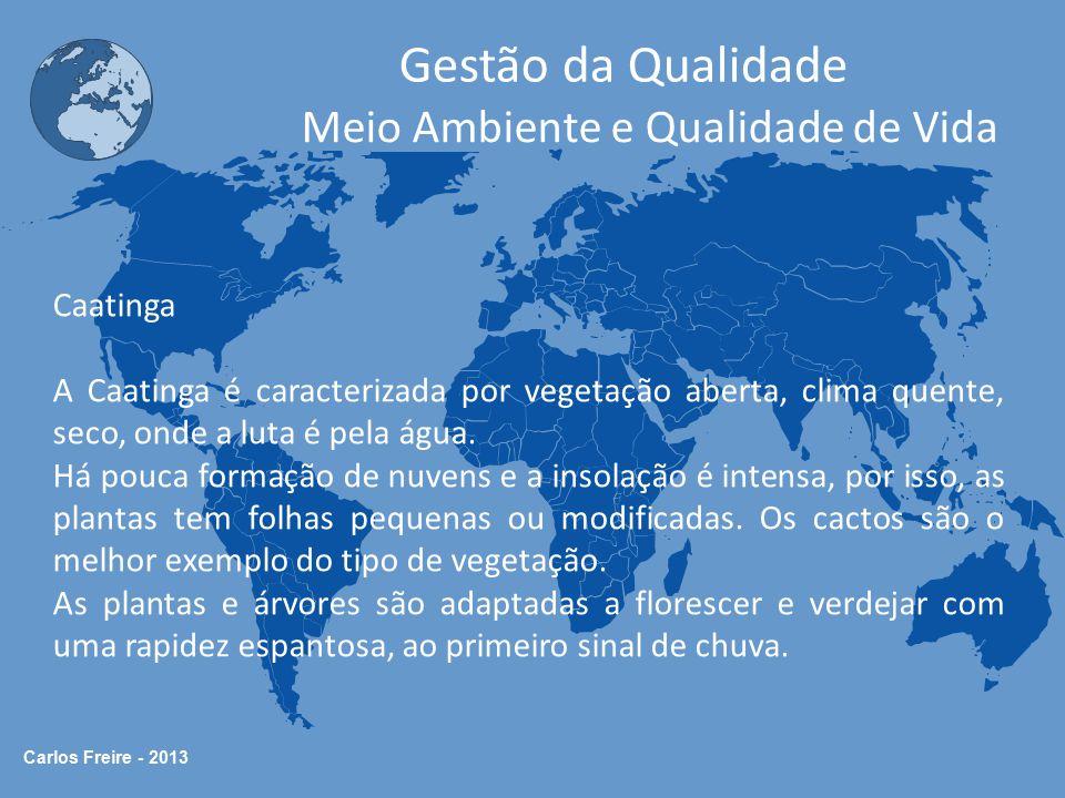 Carlos Freire - 2013 Gestão da Qualidade Meio Ambiente e Qualidade de Vida Caatinga A Caatinga é caracterizada por vegetação aberta, clima quente, sec