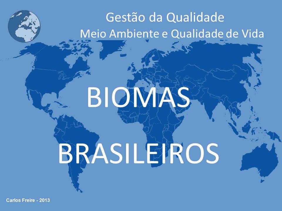 Carlos Freire - 2013 Gestão da Qualidade Meio Ambiente e Qualidade de Vida Os Grandes Biomas da Terra Biomas são Ecossistemas que apresentam semelhanças na paisagem de maneira geral.