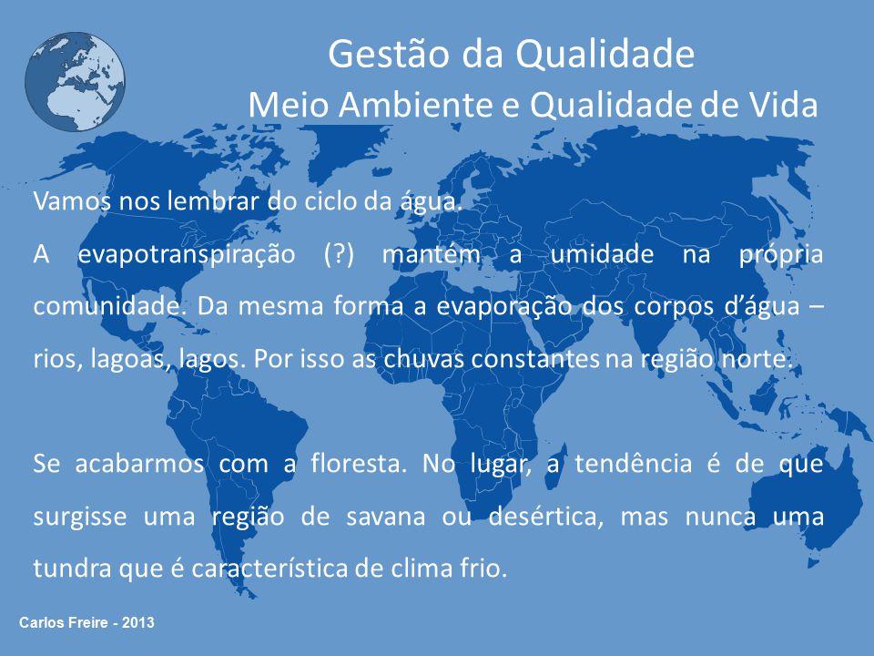 Carlos Freire - 2013 Gestão da Qualidade Meio Ambiente e Qualidade de Vida Vamos nos lembrar do ciclo da água. A evapotranspiração (?) mantém a umidad