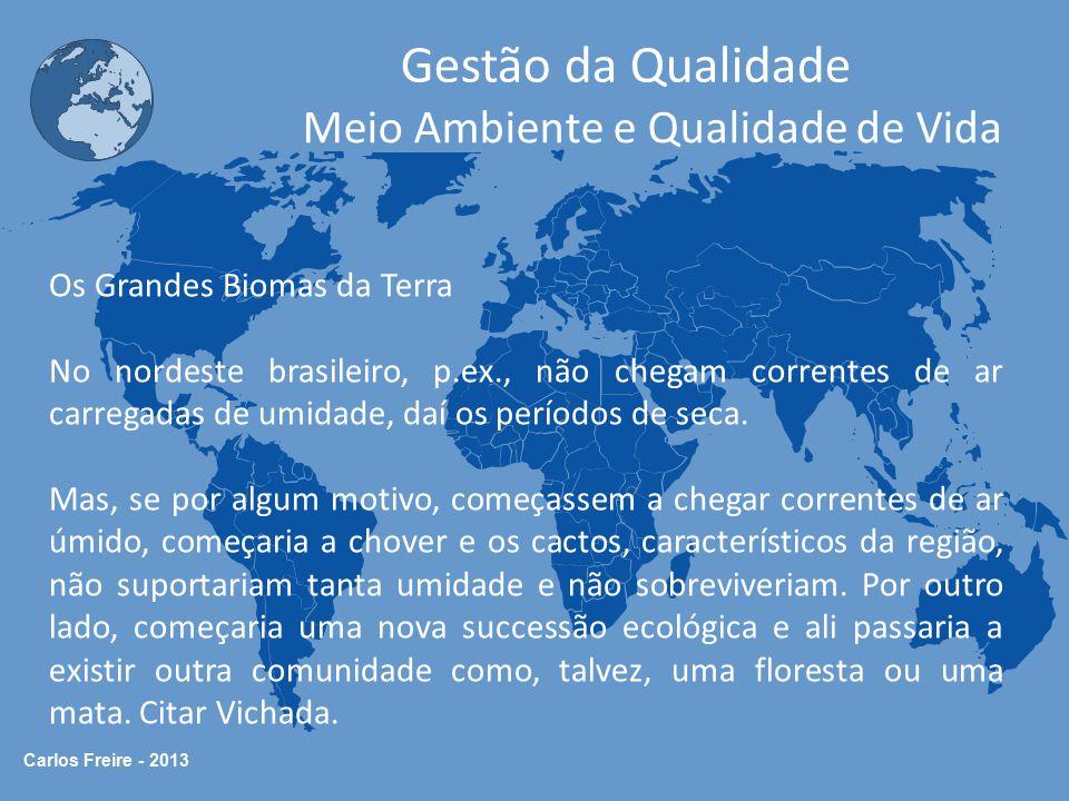 Carlos Freire - 2013 Gestão da Qualidade Meio Ambiente e Qualidade de Vida BIOMAS Clima Temperatura Disposição Geográfica Tipos de Solo Oferta de Nutrientes