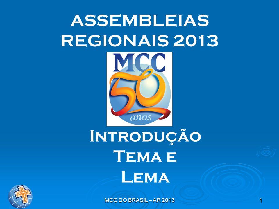 MCC DO BRASIL – AR 20132 INTRODUÇÃO: Jubileu de Ouro do MCC no Brasil:  quatro anos de preparação;  grande celebração;  novos horizontes e novos desafios aos responsáveis  Na década de 40, aos 700 jovens de Mallorca que voltavam da peregrinação perguntava-se: – E agora.