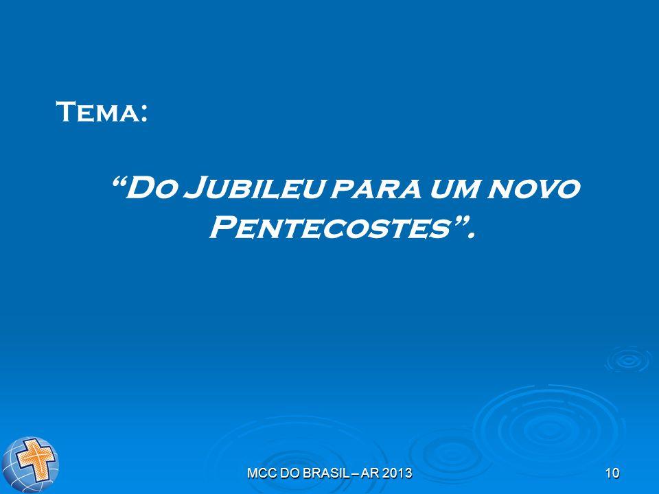 """MCC DO BRASIL – AR 201310 Tema: """"Do Jubileu para um novo Pentecostes""""."""