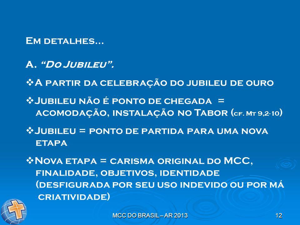 """MCC DO BRASIL – AR 201312 Em detalhes... A. """"Do Jubileu"""".  A partir da celebração do jubileu de ouro  Jubileu não é ponto de chegada = acomodação, i"""