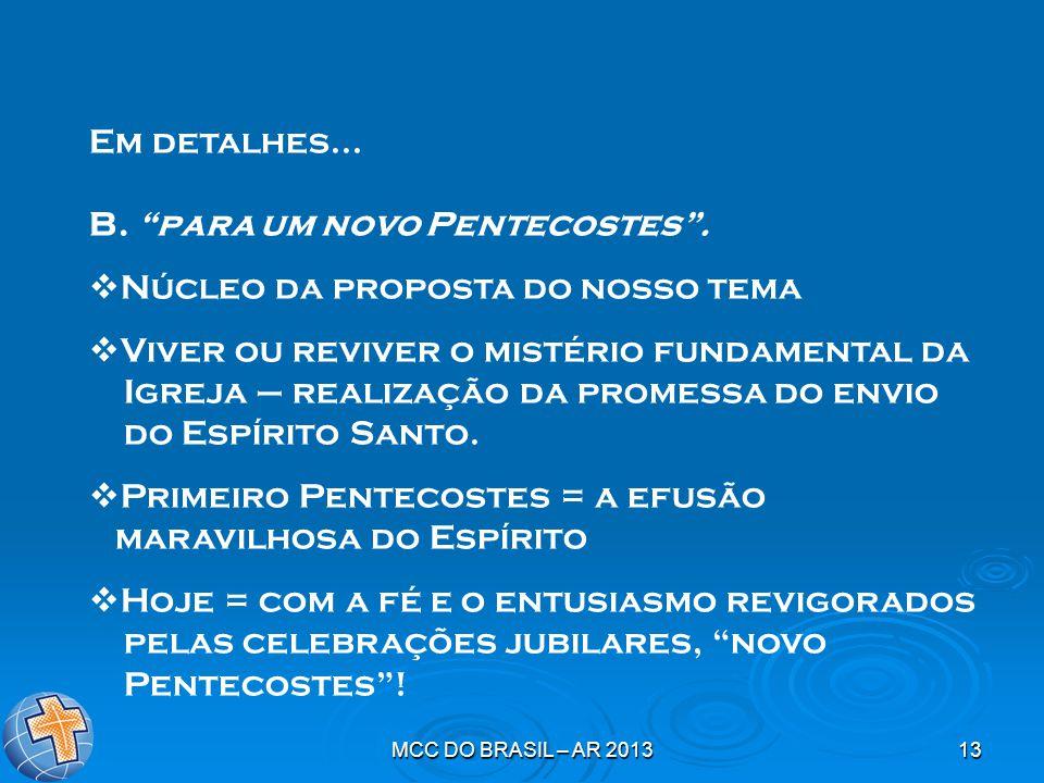 """MCC DO BRASIL – AR 201313 Em detalhes... B. """"para um novo Pentecostes"""".  Núcleo da proposta do nosso tema  Viver ou reviver o mistério fundamental d"""