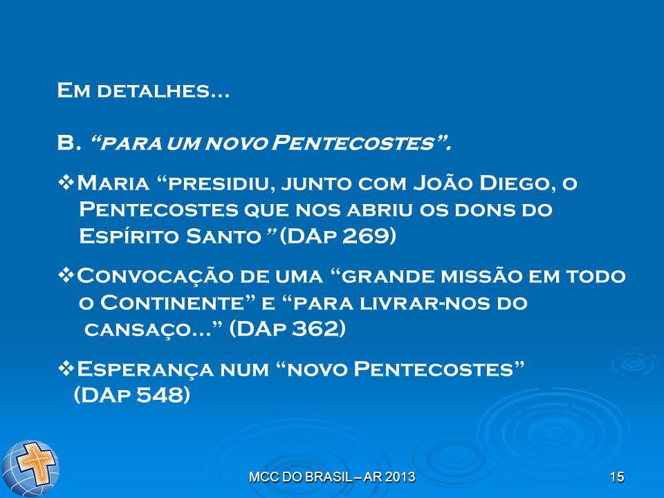 """MCC DO BRASIL – AR 201315 Em detalhes... B. """"para um novo Pentecostes"""".  Maria """"presidiu, junto com João Diego, o Pentecostes que nos abriu os dons d"""