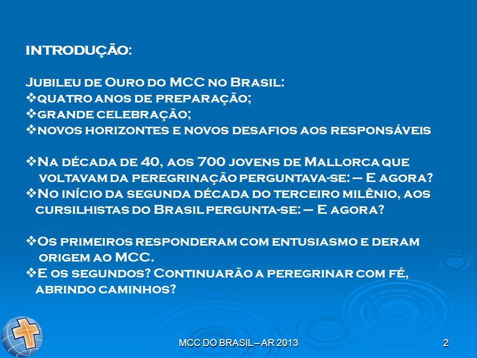 MCC DO BRASIL – AR 20132 INTRODUÇÃO: Jubileu de Ouro do MCC no Brasil:  quatro anos de preparação;  grande celebração;  novos horizontes e novos de