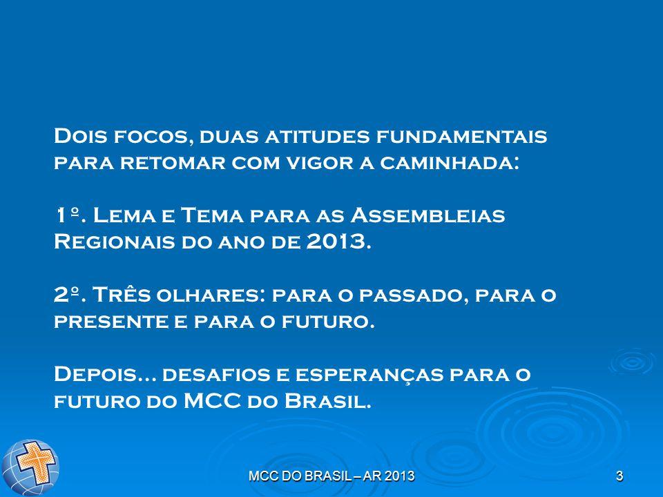MCC DO BRASIL – AR 20133 Dois focos, duas atitudes fundamentais para retomar com vigor a caminhada: 1º. Lema e Tema para as Assembleias Regionais do a
