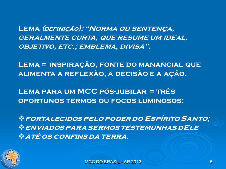 """MCC DO BRASIL – AR 20135 Lema ( definição ): """"Norma ou sentença, geralmente curta, que resume um ideal, objetivo, etc.; emblema, divisa"""". Lema = inspi"""