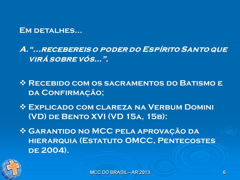 """MCC DO BRASIL – AR 20136 Em detalhes... A.""""...recebereis o poder do Espírito Santo que virá sobre vós..."""".  Recebido com os sacramentos do Batismo e"""