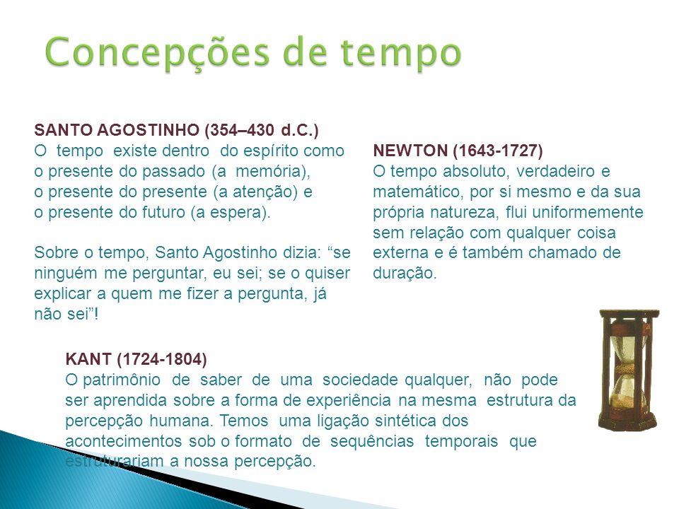 SANTO AGOSTINHO (354–430 d.C.) O tempo existe dentro do espírito como o presente do passado (a memória), o presente do presente (a atenção) e o presen