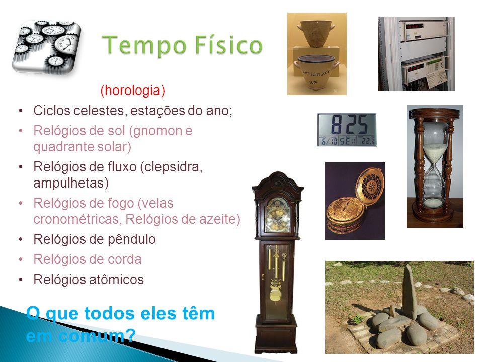 (horologia) •Ciclos celestes, estações do ano; •Relógios de sol (gnomon e quadrante solar) •Relógios de fluxo (clepsidra, ampulhetas) •Relógios de fog